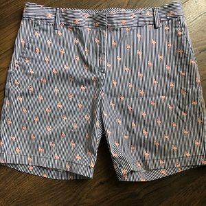 IZOD Navy White Flamingo Striped Shorts Sz 6